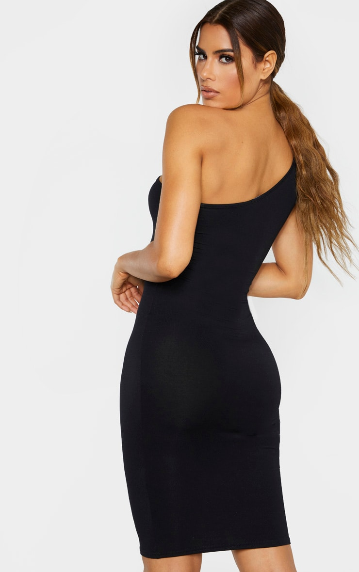 Tall Black One Shoulder Jersey Mini Dress 2