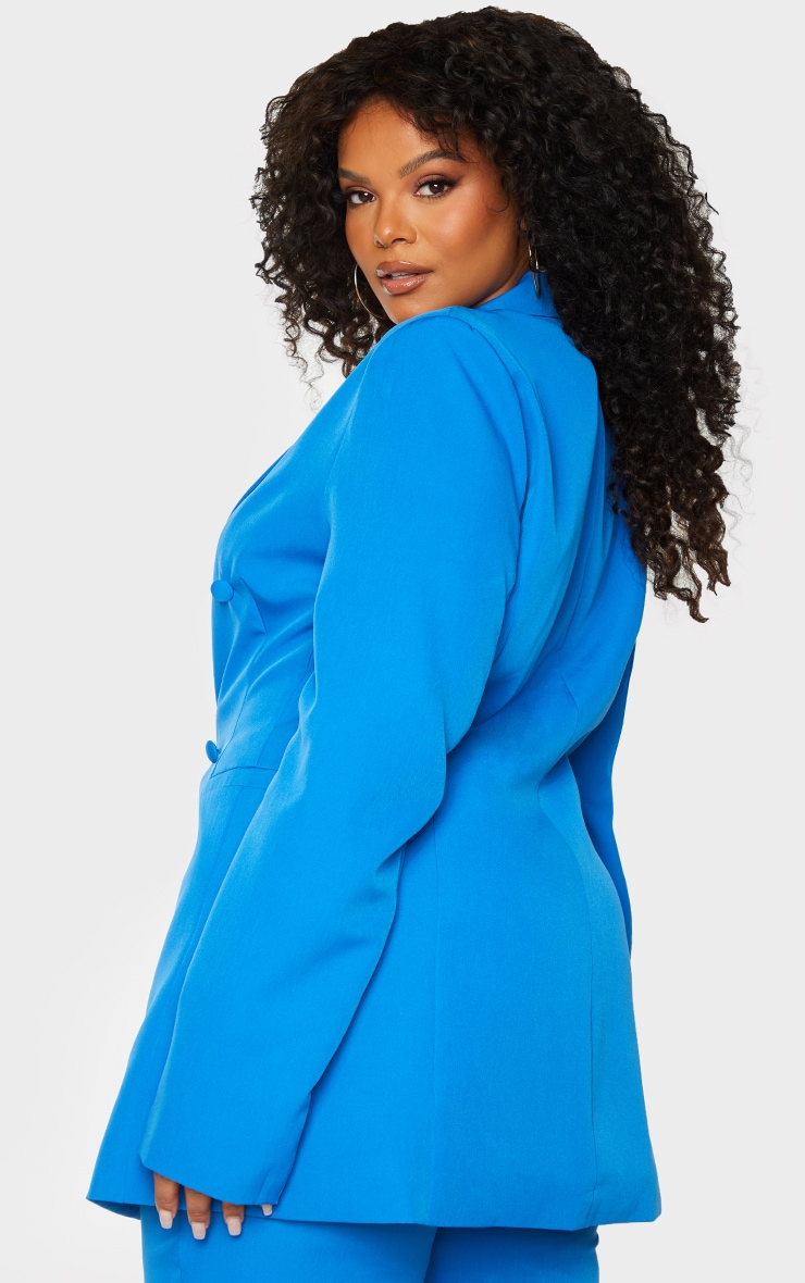 Plus Blue Double Breasted Woven Blazer 2