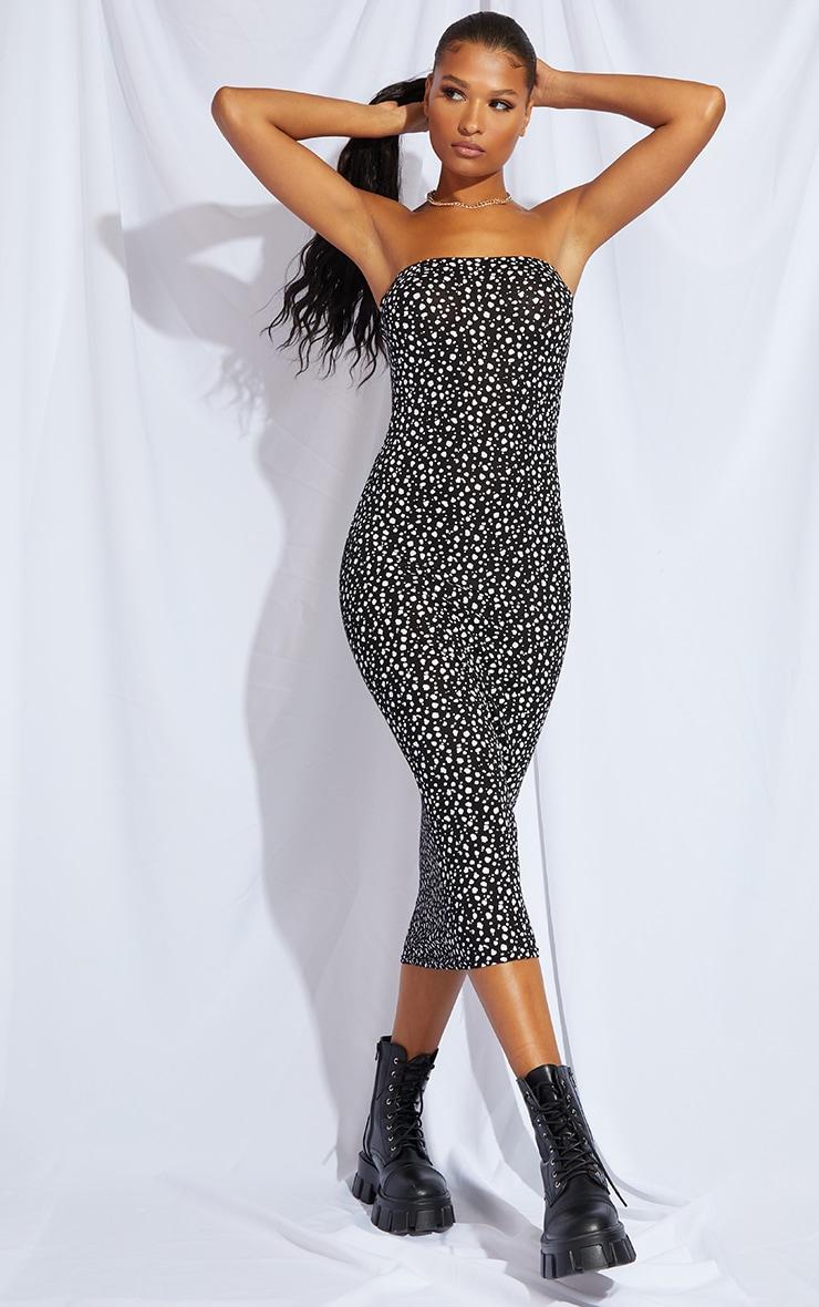 Black Dalmatian Print Bandeau Midaxi Dress 1
