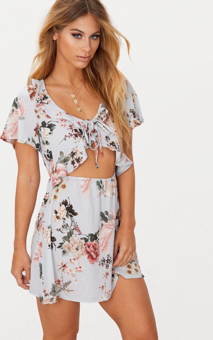 Grey Floral Print Frill Detail Tea Dress 1