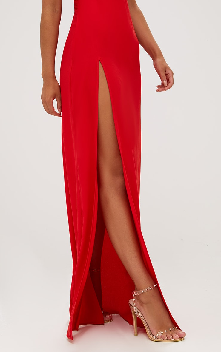 Red Strappy Back Detail Chiffon Maxi Dress 6