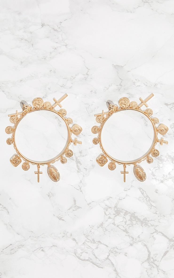 Gold Renaissance Multi Pendant Diamante Hoop Earrings 3