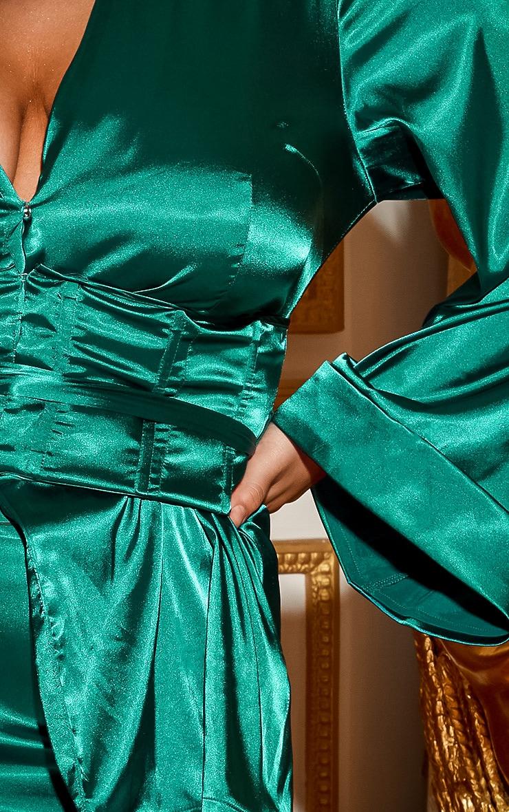 PLT Plus - Blazer satiné vert émeraude style corset  6