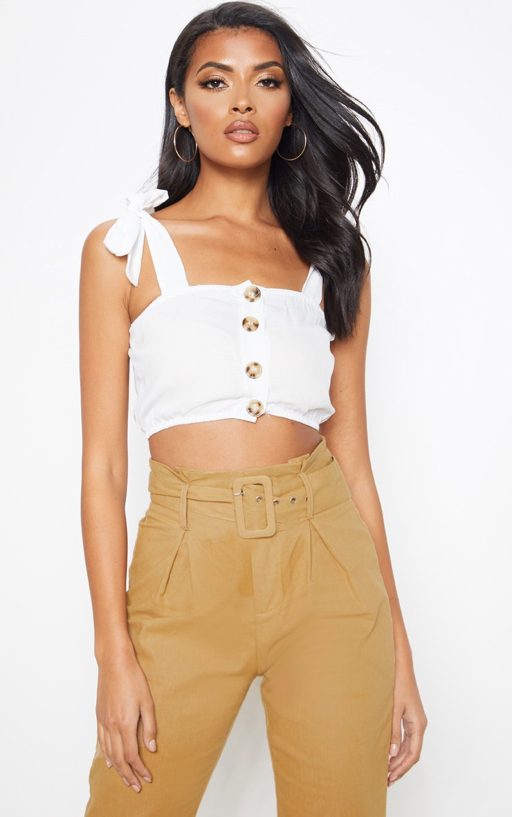 White Woven Button Up Square Neck Tie Crop Top 1