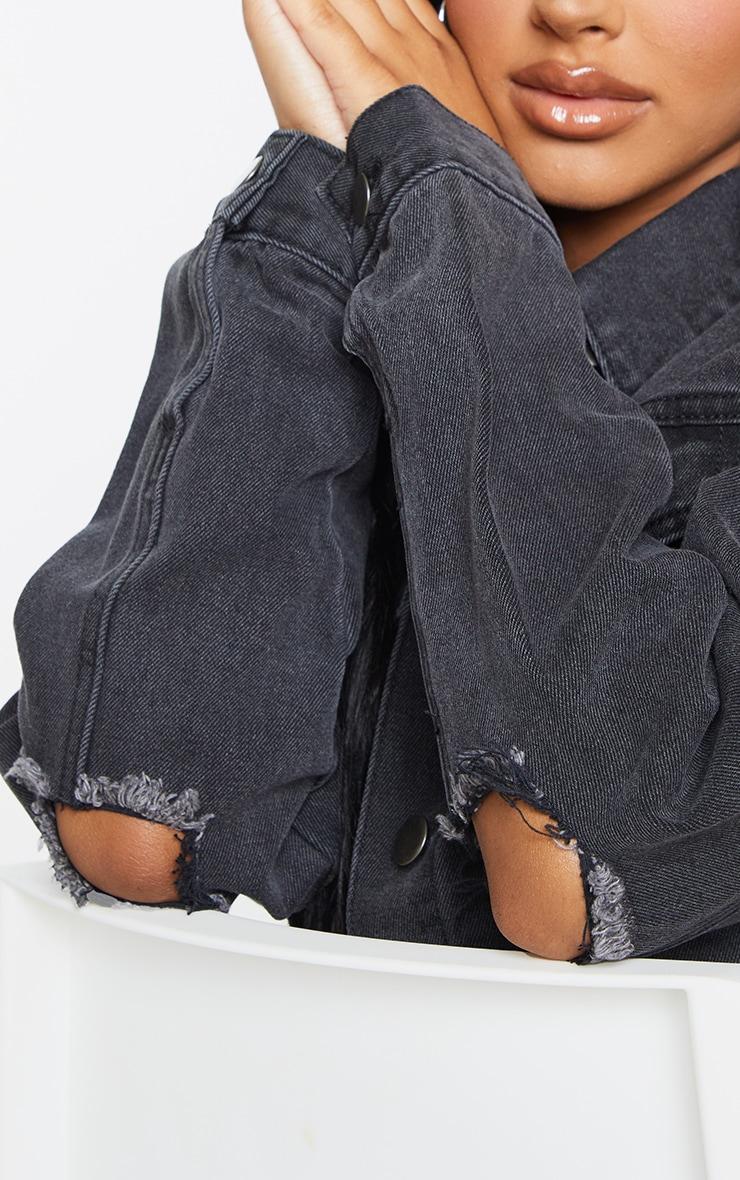 Petite Black Denim Ripped Elbow Jacket 4