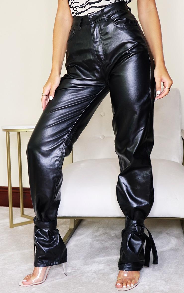 Black Tied Hem Coated Straight Leg Jean 2