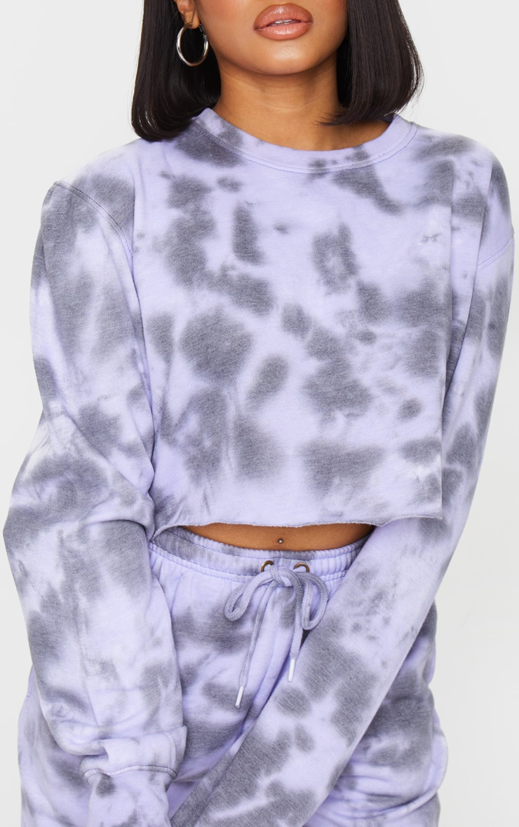 Petite Lilac Acid Wash Cropped Sweater 4