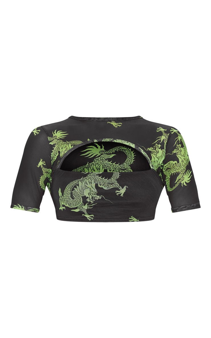 Green Dragon Printed Mesh Cut Out Crop Top 3