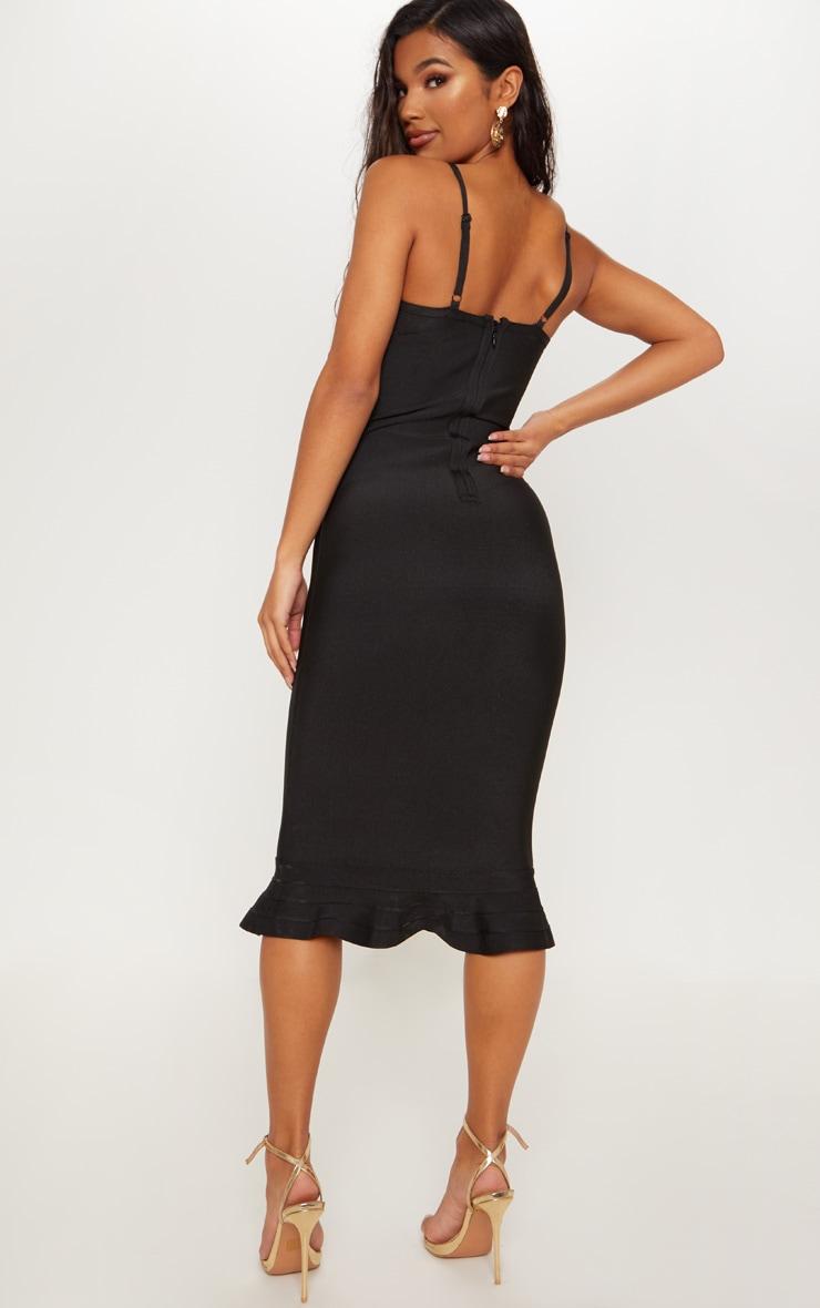 Black Bandage Strappy Frill Hem Midi Dress 2