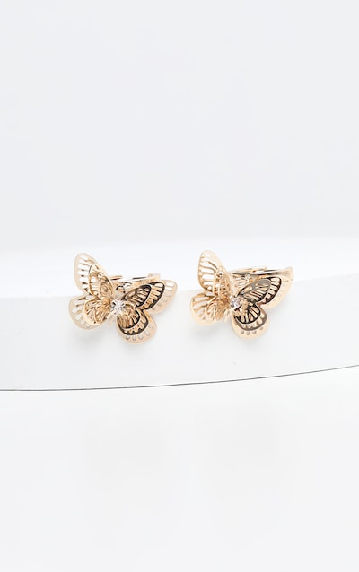 Gold Butterfly Diamante Charm Earrings