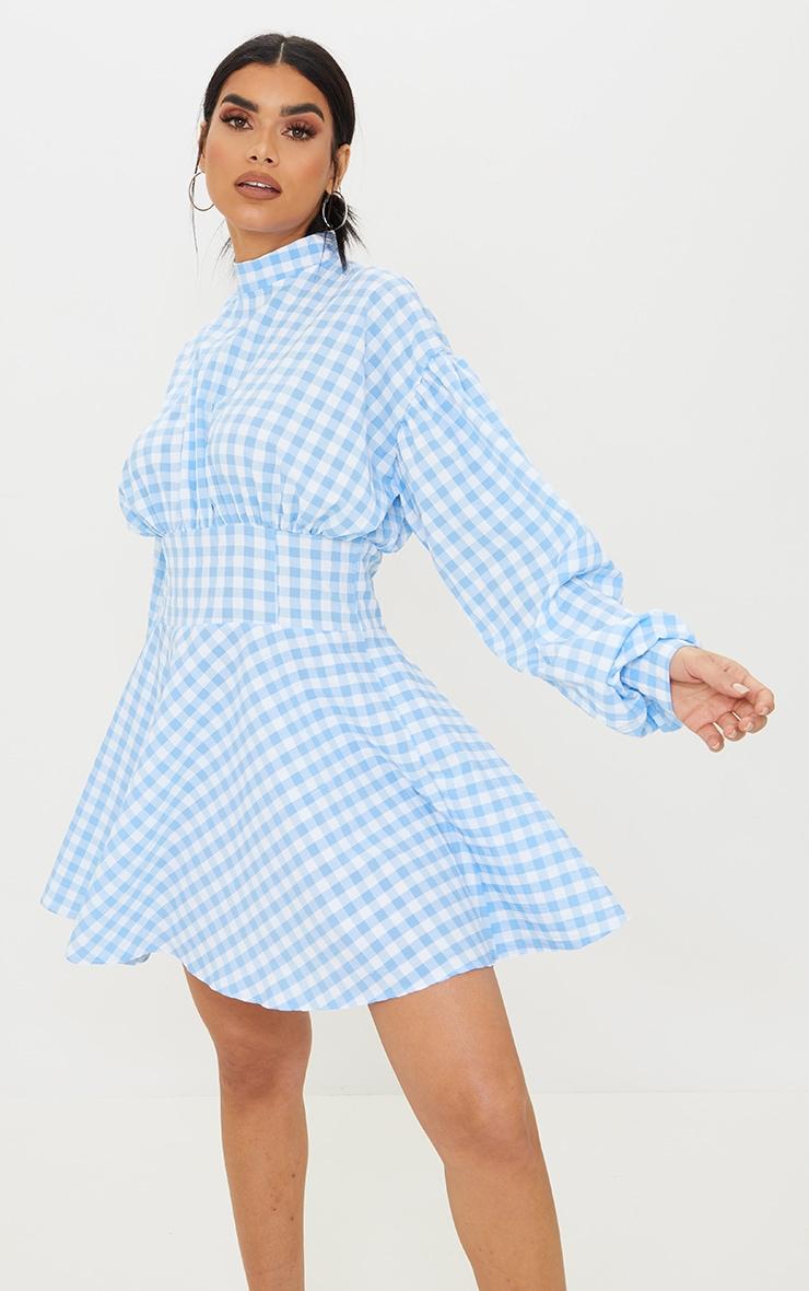 Blue Gingham High Neck Ruched Detail Shift Dress 1