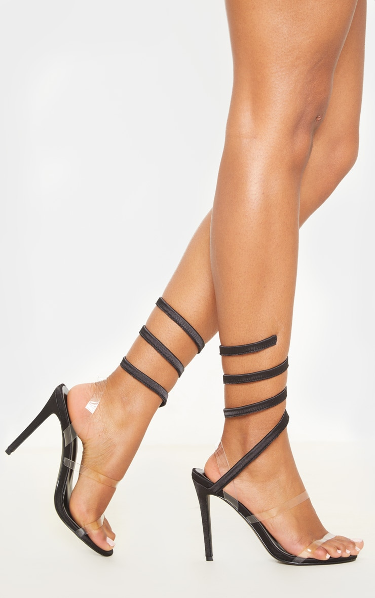 Black Ankle Wrap Strappy Heeled Sandal