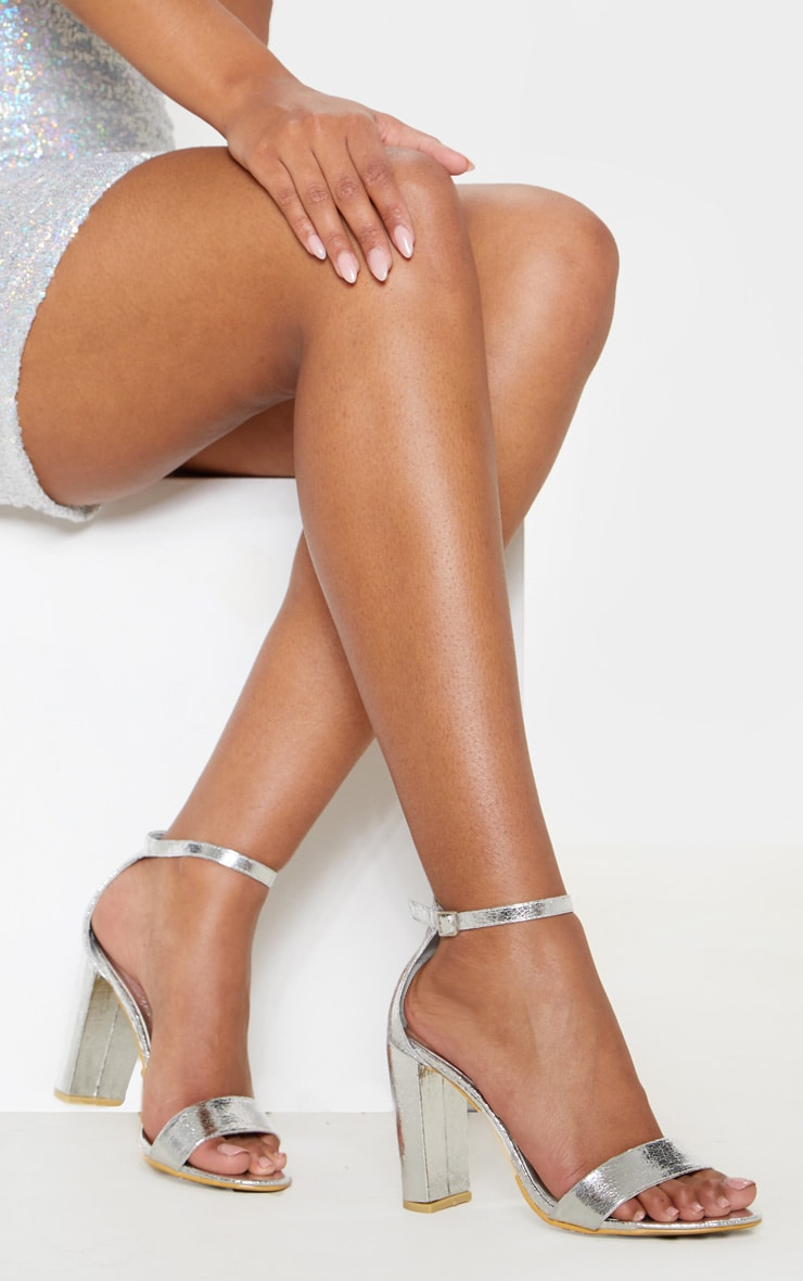May Silver Block Heeled Sandals 1