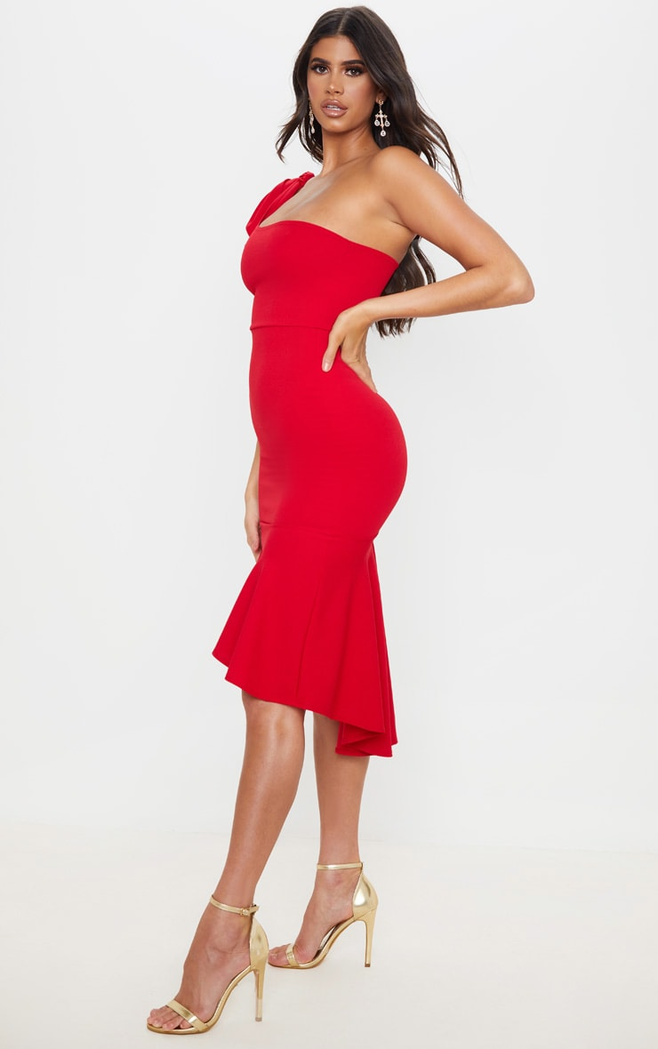 Red Tie Shoulder Asymmetric Hem Midi Dress 3