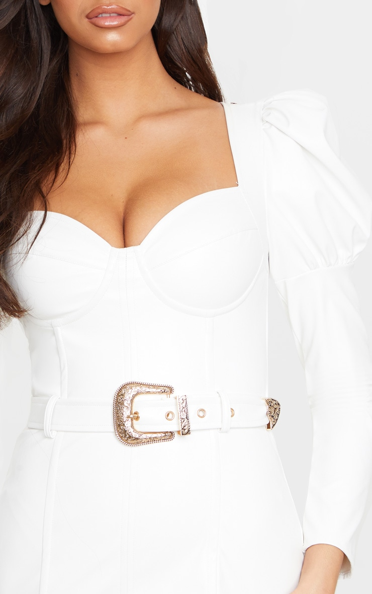 White PU Puff Shoulder Belt Detail Bodycon Dress 5