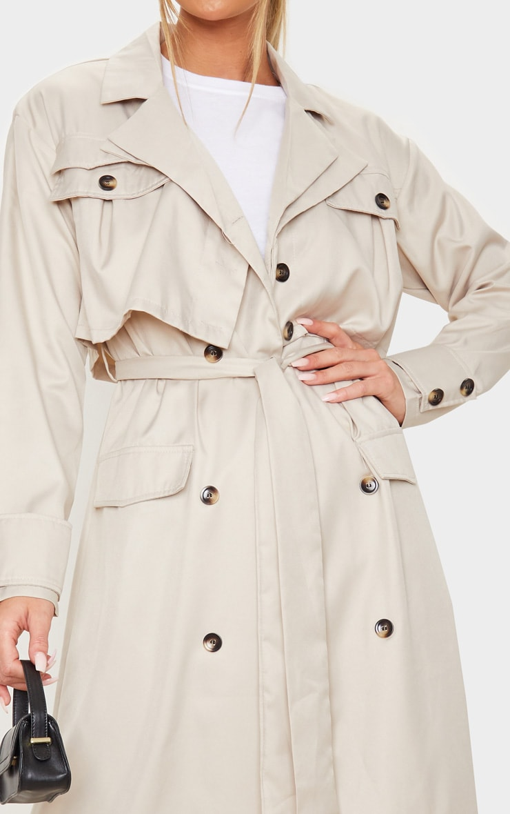 Stone Oversized Belted Trench Coat 5