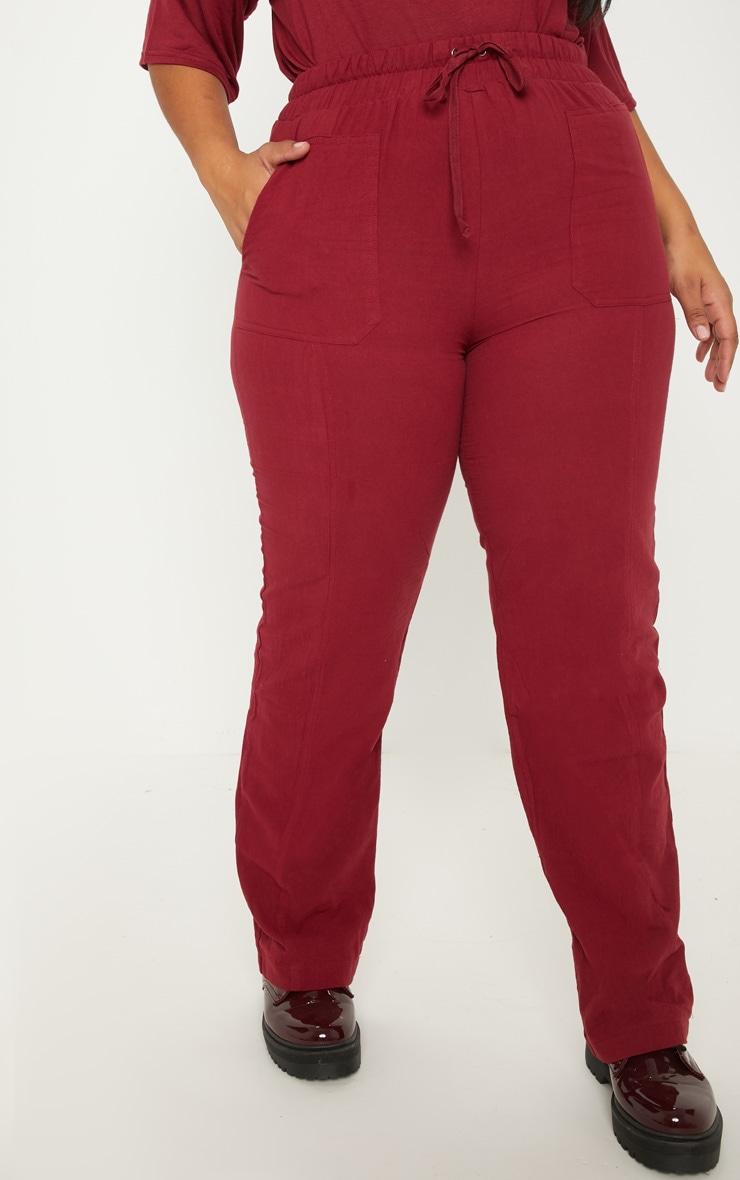 Plus Burgundy Pocket Detail Trousers 2