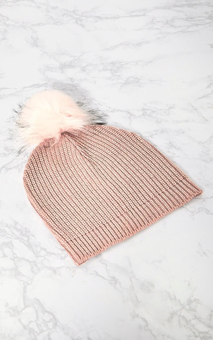 Pink Metallic Faux Fur Beanie 2