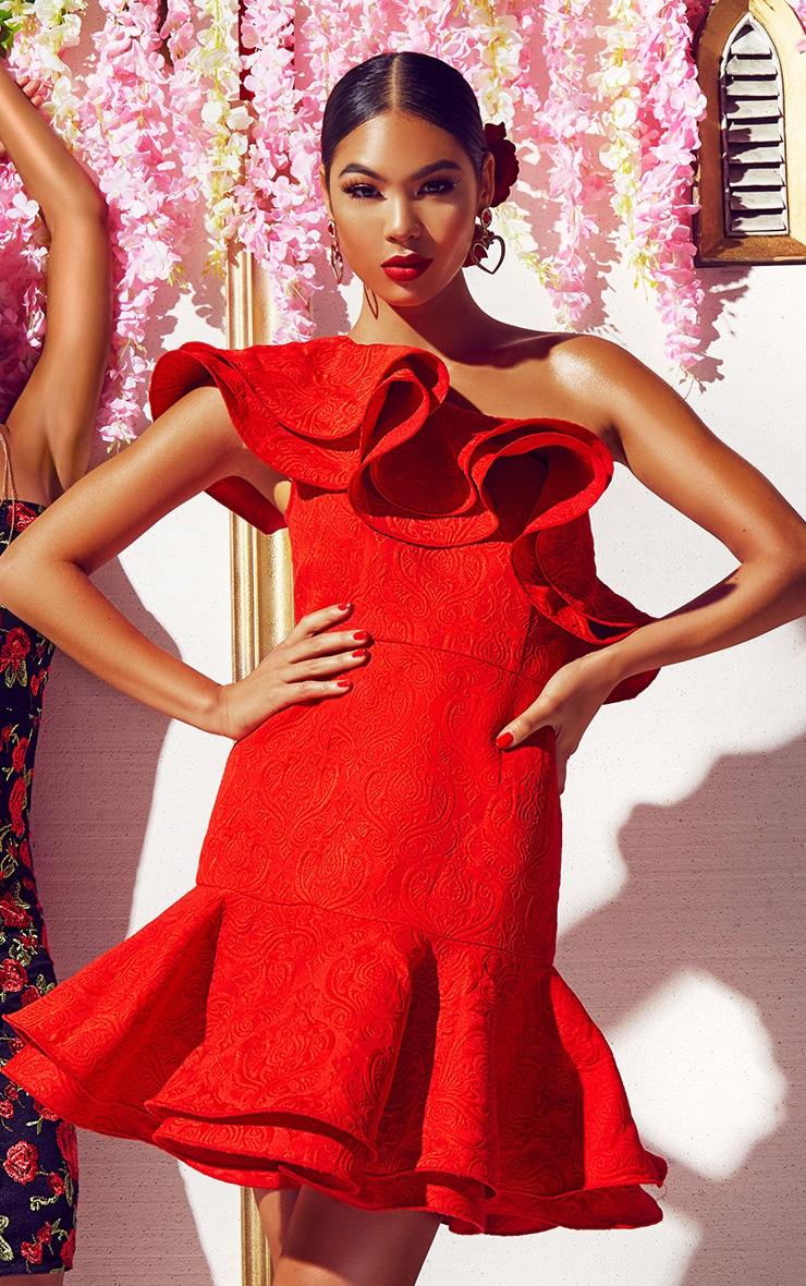 Red Jacquard One Shoulder Frill Drop Hem Dress 1