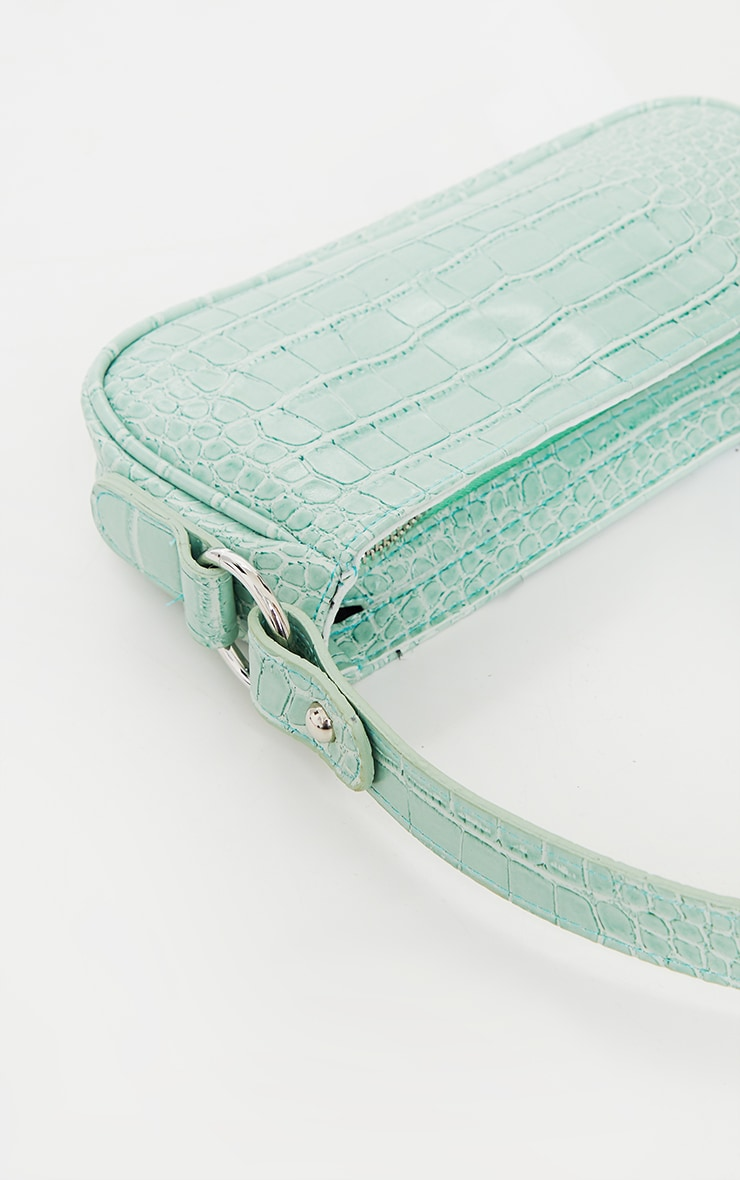 Sage Green PU Croc Shoulder Bag 3