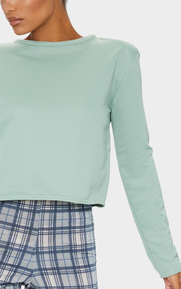 Sage Green Long Sleeve Shoulder Pad Top 4