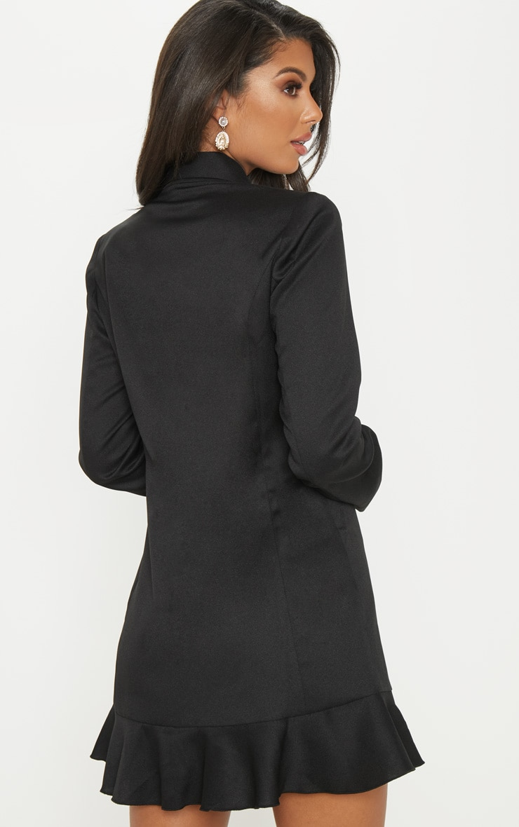Black Frill Detail Blazer Dress 2