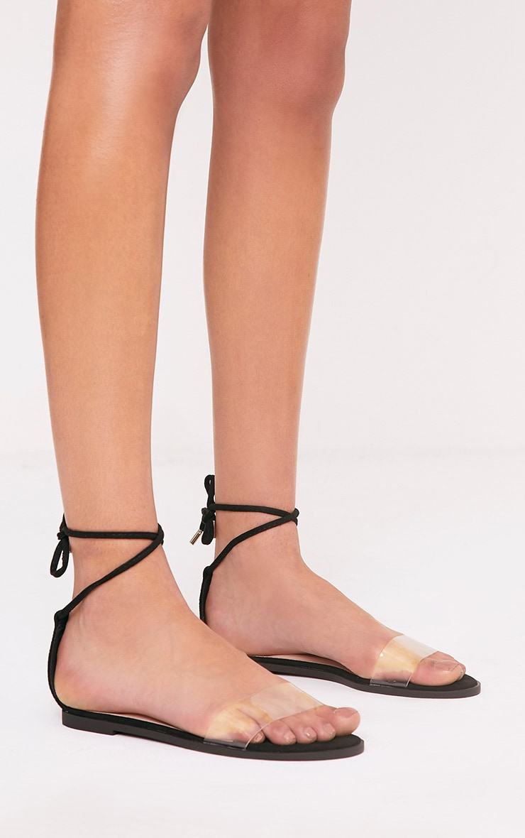 Isha Black Clear Strap Tie Ankle Sandals 1
