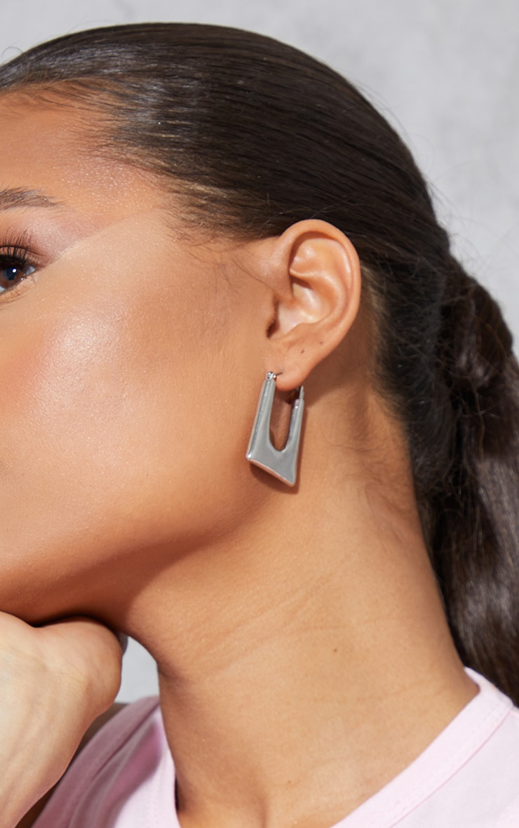 Silver Cut Out Square Hoop Earrings 1