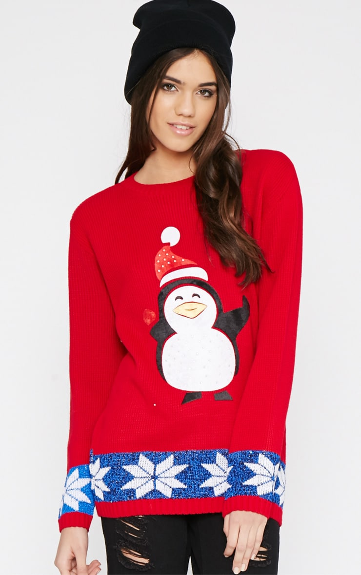 Gabriel Red Penguin Christmas Sweater 4