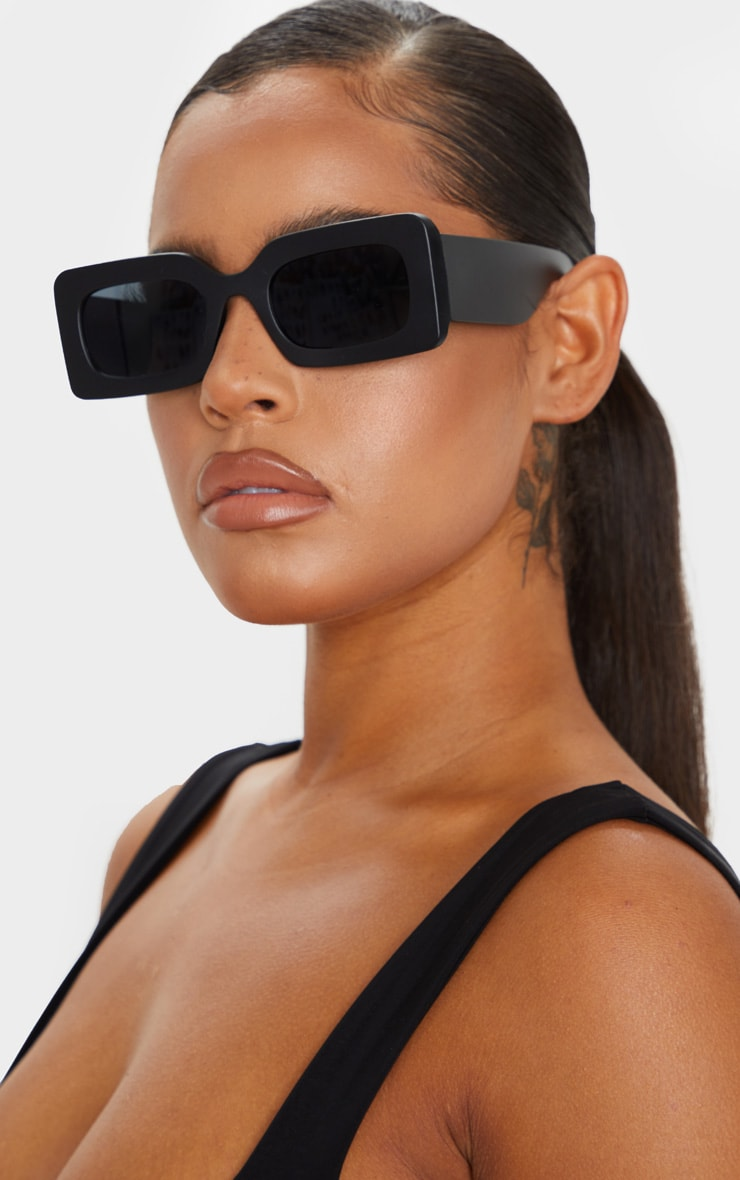 Black Oversized Square Frame Sunglasses 1