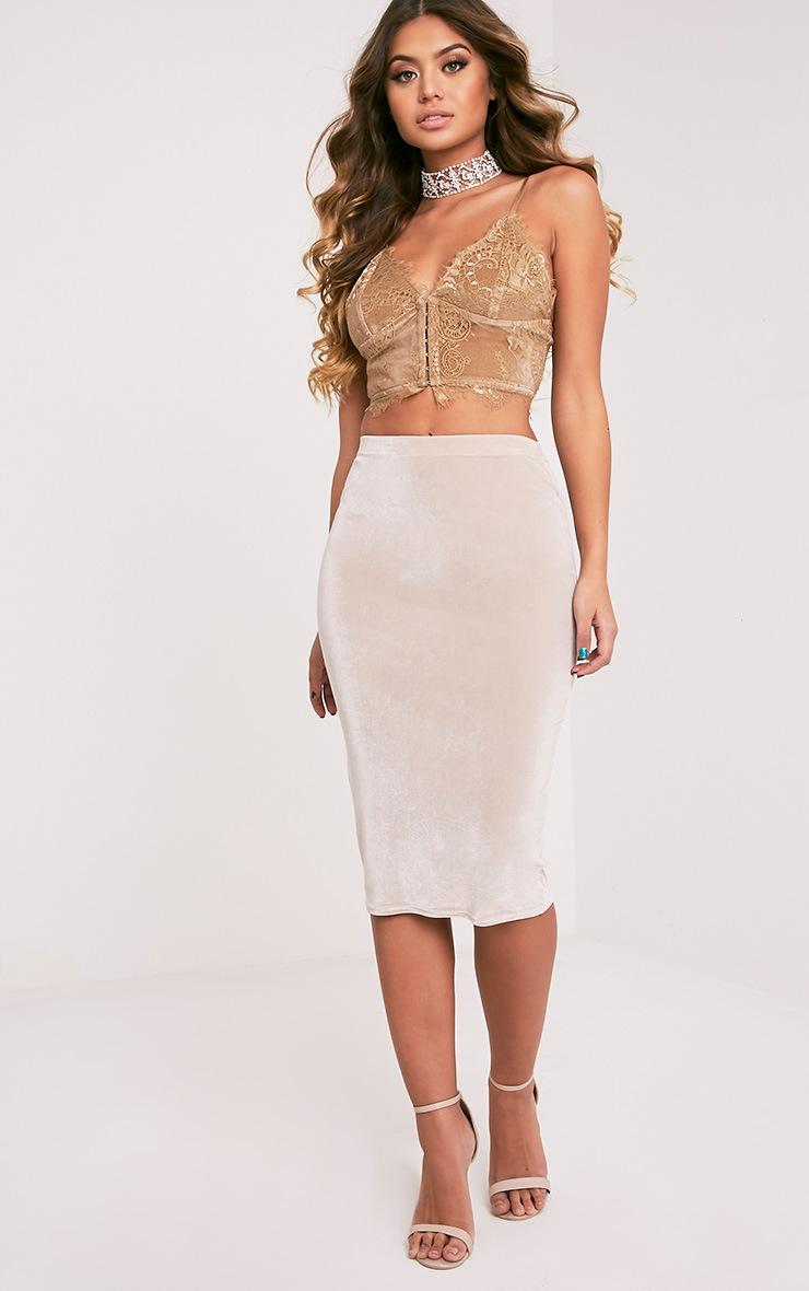 Hannah brassière corset en dentelle dorée 5