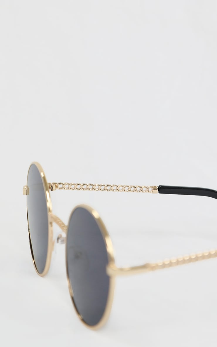 Gold Chain Trim Round Sunglasses 3