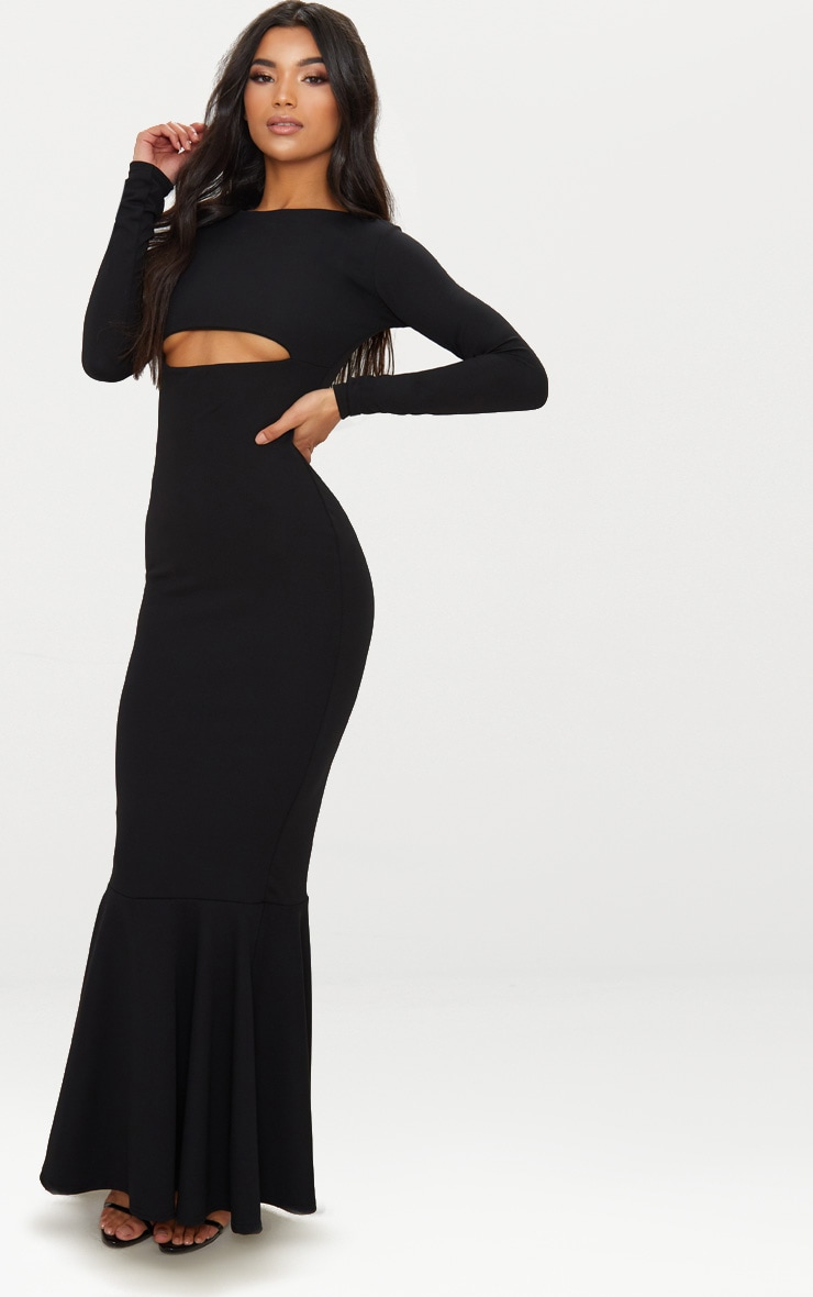 Black Cut Out Detail Long Sleeve Fishtail Maxi Dress 4