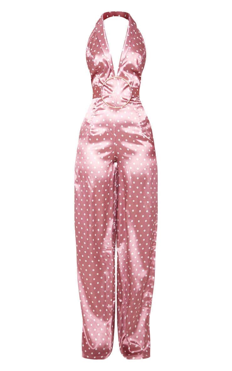 Pastel Pink Polka Dot Ring Detail Jumpsuit 3