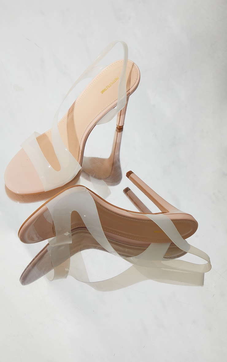 Nude Clear Asymmetric Strap Heeled Sandals 4