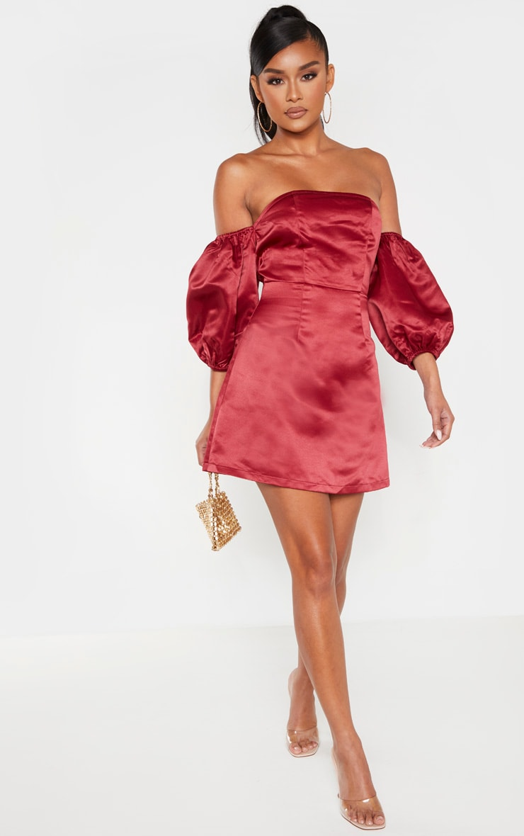 Burgundy Bonded Satin Bardot Puff Sleeve Bodycon Dress 4