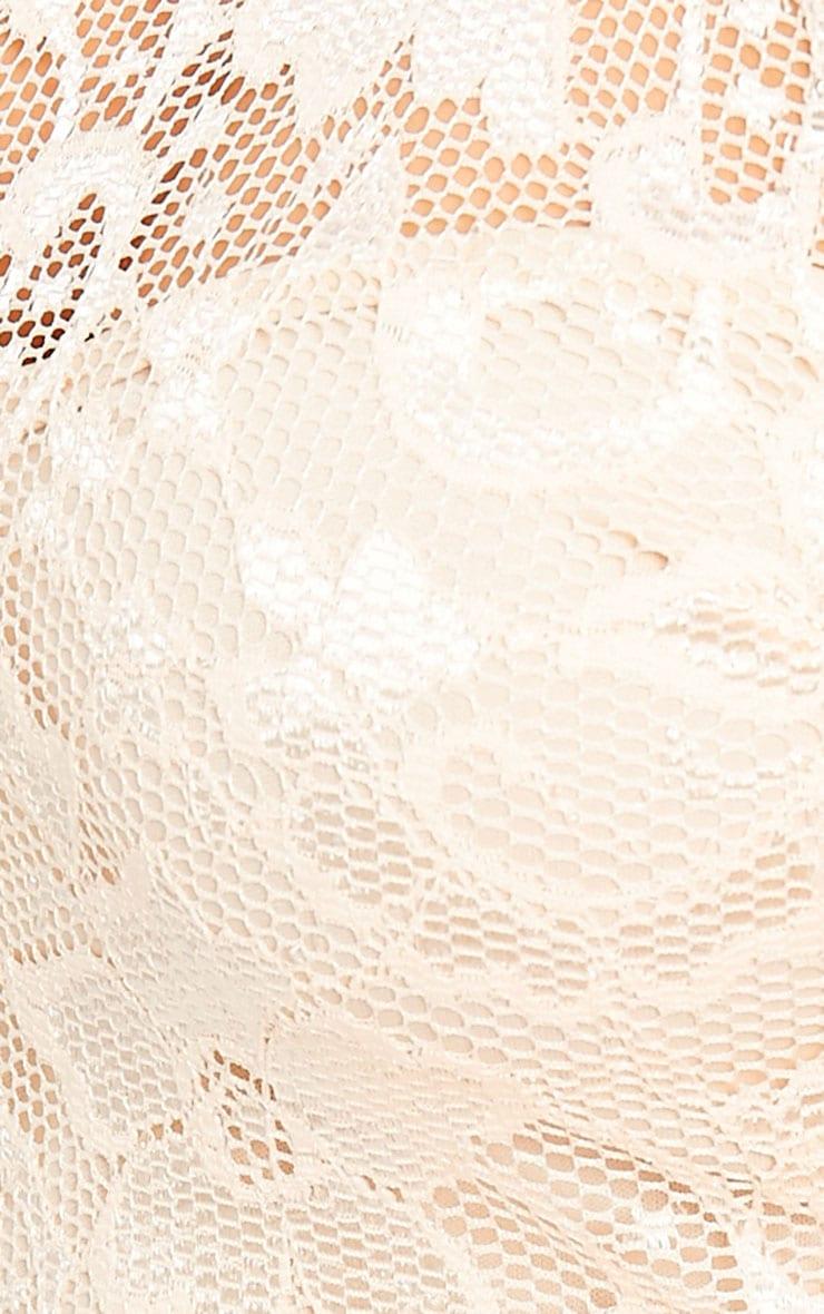 Soffi Peach High Neck Lace Bodycon Dress 5