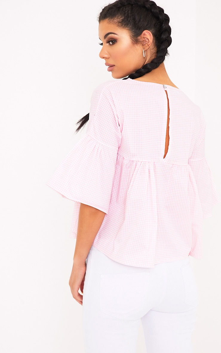 Alexiah Pink Gingham Frill Sleeve Blouse 2