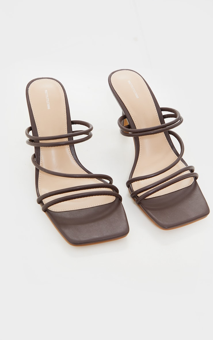 Chocolate PU Square Toe Strappy Low Heeled Mules 3