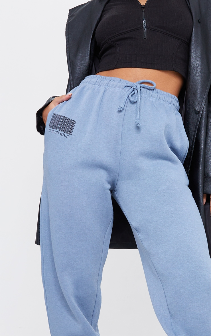 PRETTYLITTLETHING Steel Blue Barcode Joggers 4