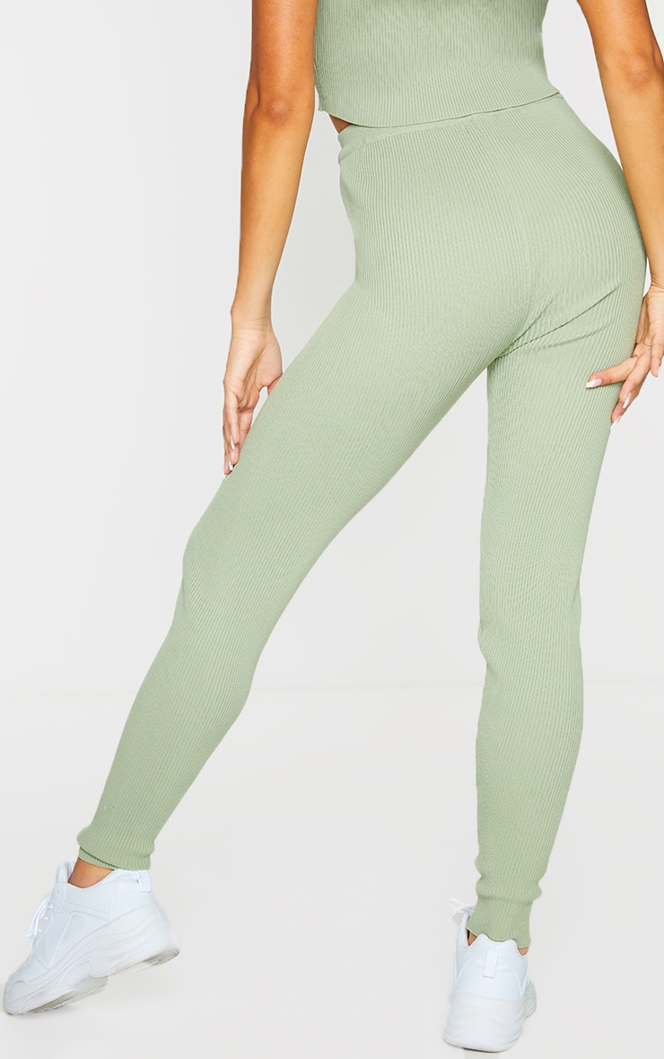 Sage Green Ribbed Knitted Tie Waist Joggers 3