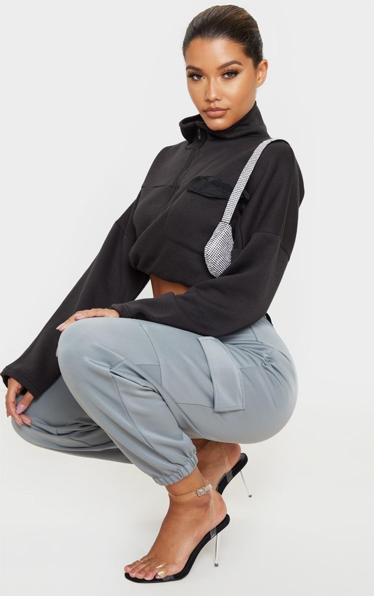 Grey Belted Scuba Cargo Trousers 6