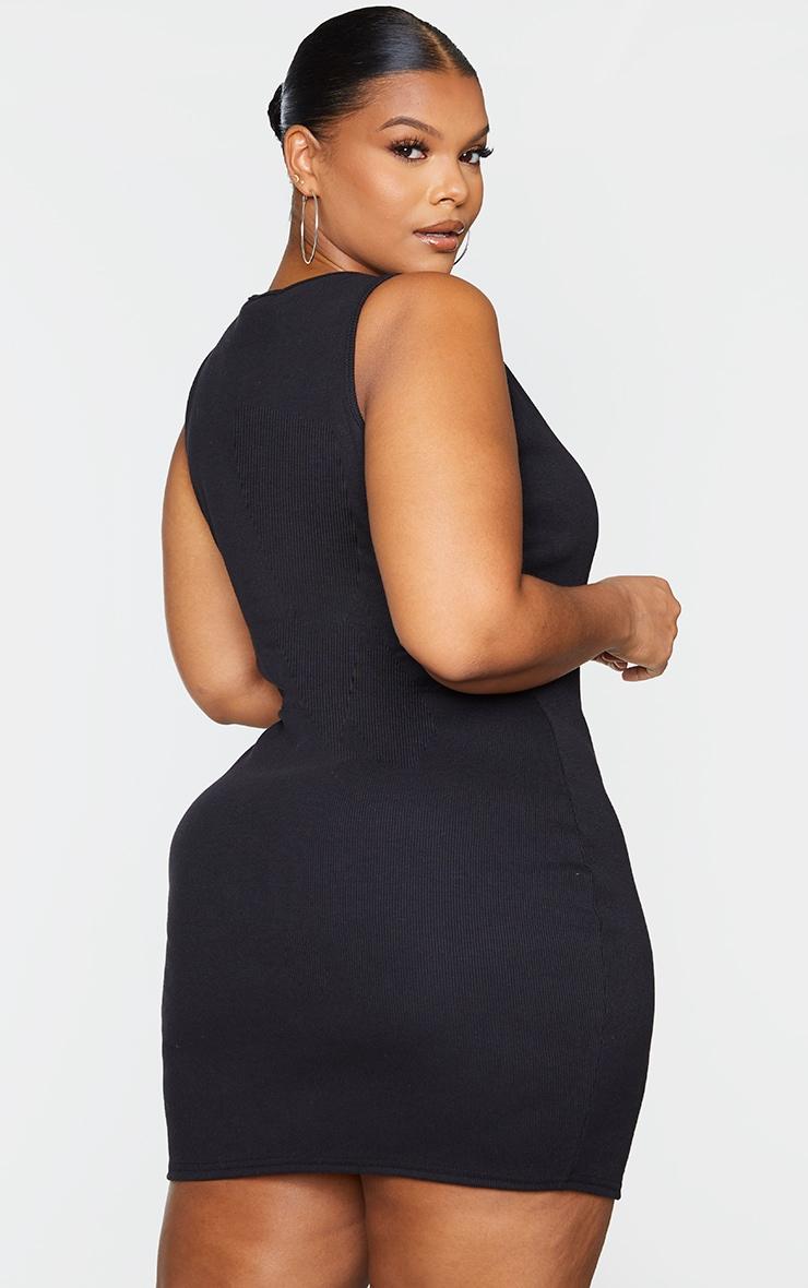 Plus Black Ribbed Scoop Neck Bodycon Dress 2
