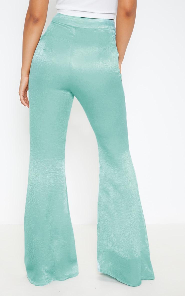 Petite - Pantalon à pinces vert menthe satiné à coupe très évasée 4