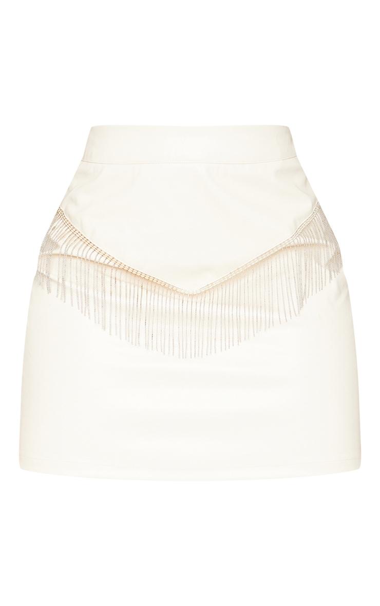 Tall Cream Chain Fringing PU Mini Skirt 6