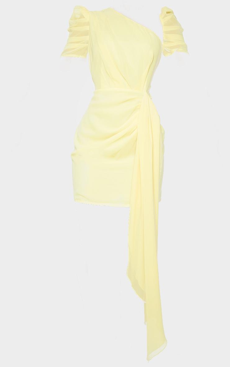 Lemon Chiffon One Shoulder Draped Bodycon Dress 5