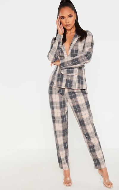 Grey Check Print Woven Straight Leg Trouser