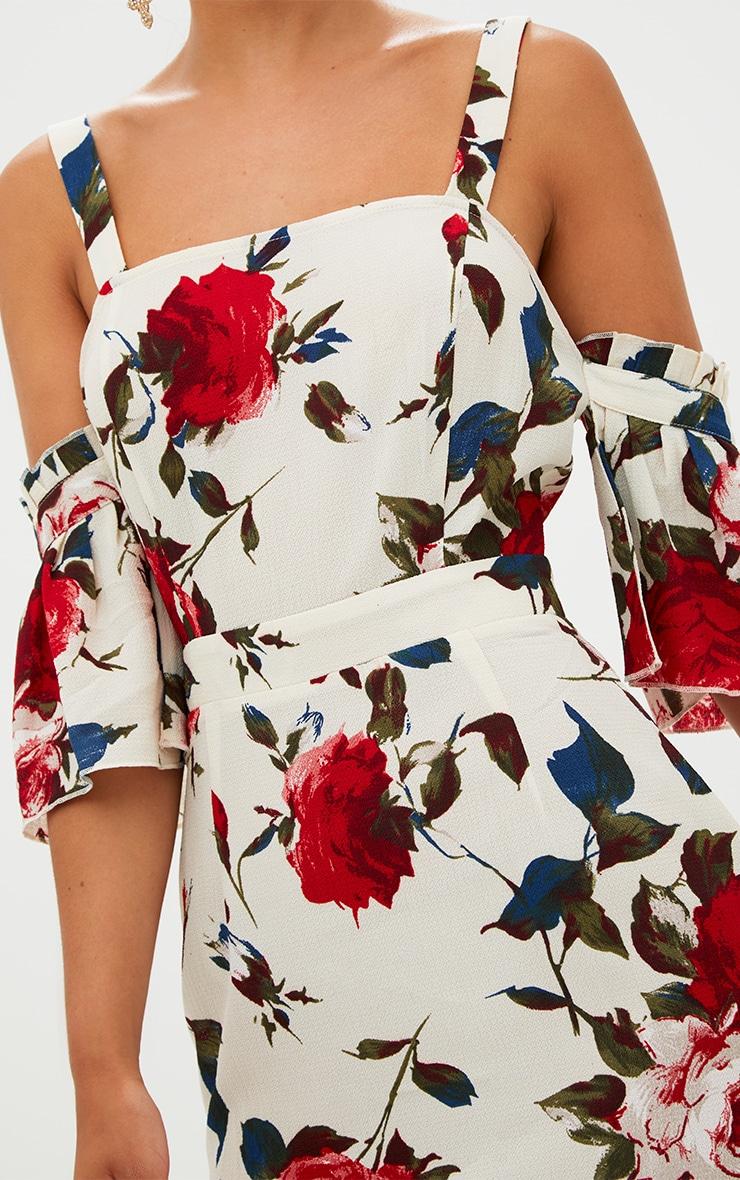 Cream Floral Cold Shoulder Midi Dress 5
