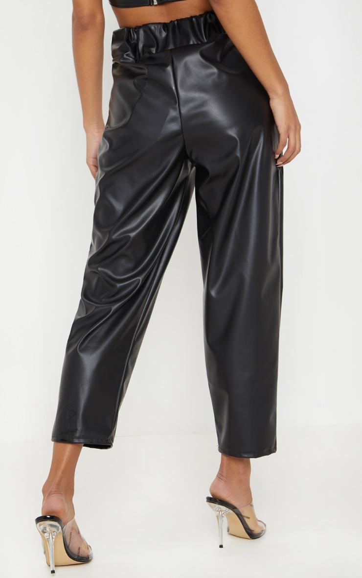 Black Pocket Detail Faux Leather Culotte 4