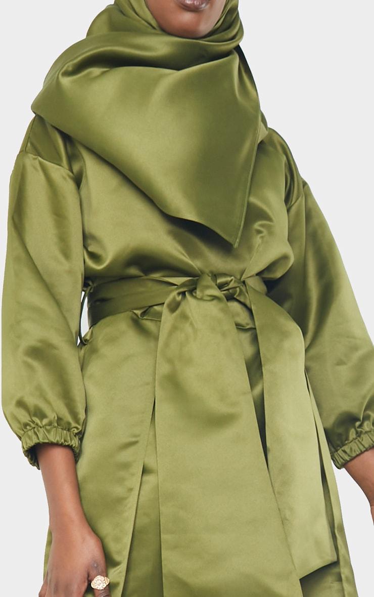 Khaki Satin Tie Front Asymmetric Top 4
